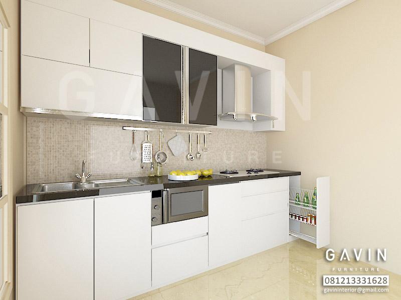 Desain 3d kitchen set hpl putih ide ruang for Kitchen set hpl