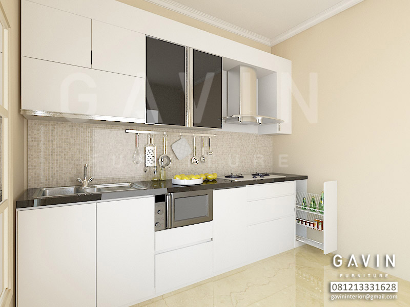 Desain 3d kitchen set hpl putih ide ruang for Kitchen set putih