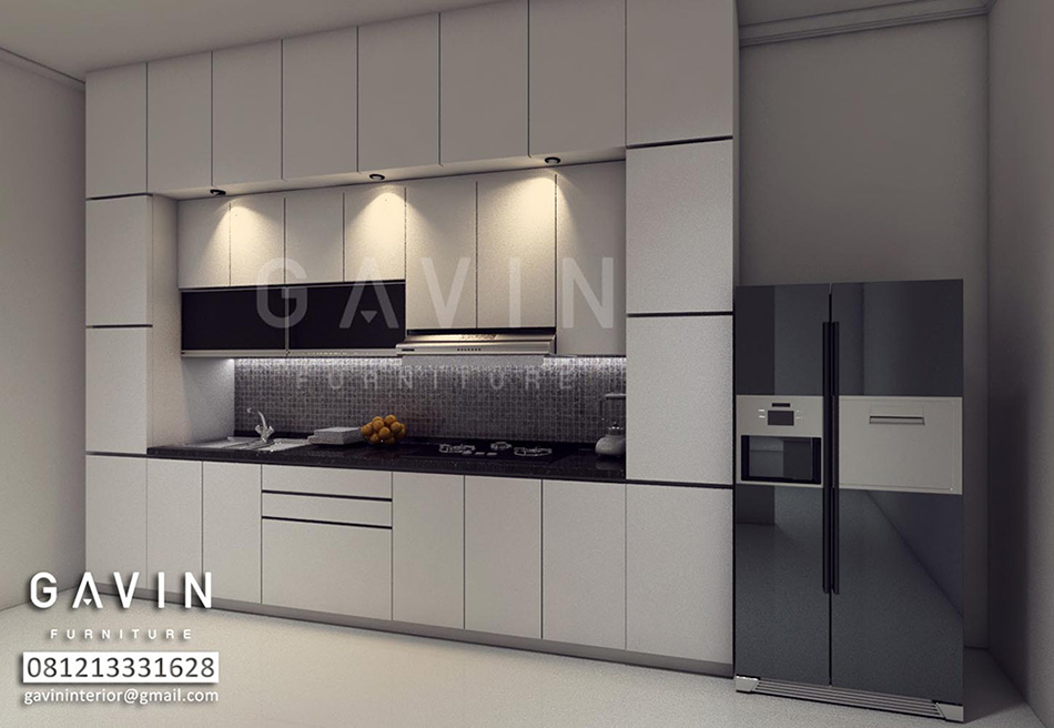 Desain 3d Kitchen Set Minimalis Bahan Hpl Ide Ruang