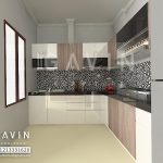 Gambar 3D Model Kitchen Set Letter L