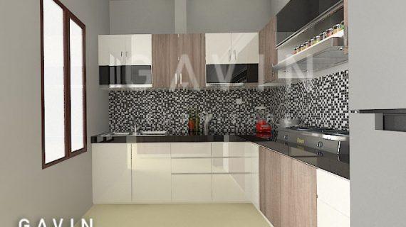 Gambar 3D Model Kitchen Set Letter L