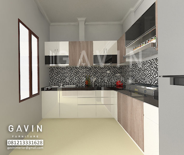 Gambar 3d Model Kitchen Set Letter L Ide Ruang