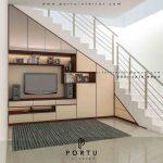 contoh meja tv di bawah tangga by Portu Interior