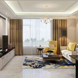 Desain ruang keluarga apartemen konsep semi klasik
